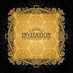 抽象的な背景の装飾、ゴールドの招待カード、バロック スタイルのラベル、ファッションのシームレスなパターン設計のためのグラフィック、幾何学的な装飾とアンティーク、ビンテージ フレーム, ブラック ダマスク織壁紙 — ストックベクタ