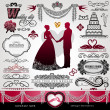 Royalty-Free Stock Vector Image: Wedding Day, background, ornaments set, calligraphy abstract elements, vector invitation card, label, vintage frame, bouquet, abstract flower patterns, floral retro banner, wreath, divider for design