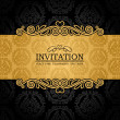 Abstract background with antique, vintage frame and banner, black damask wallpaper with ornamental, gold invitation card, baroque style label, fashion pattern, graphic ornament for decoration, design — Imagens vectoriais em stock