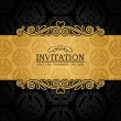 Abstract background with antique, vintage frame and banner, black damask wallpaper with ornamental, gold invitation card, baroque style label, fashion pattern, graphic ornament for decoration, design — Stock vektor #11824977