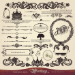 EPS 10,Vector calligraphy set: vintage style, ornate design ornaments and page decoration, creative patterns — Stock Vector