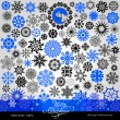 77 items - Christmas and New Year creative snowflakes and stars set, horizontal blue, winter, banner, vintage and retro ornaments, text, patterns for decoration and design — 图库矢量图片
