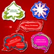 Christmas and New Year graphic speech bubbles and stickers design, using creative ornaments -Christmas tree, snowflake, cloud, banner and frame on the colored vintage paper — Stock Vector #11825161