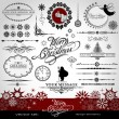 Christmas and New Year decorative vector set, silhouettes of Santa Claus and fairy, calligraphic elements, vintage and retro ornaments, banners, text, dividers with snowflakes and stars for design — Vector de stock