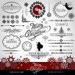 Christmas and New Year decorative vector set, silhouettes of Santa Claus and fairy, calligraphic elements, vintage and retro ornaments, banners, text, dividers with snowflakes and stars for design — Imagen vectorial