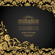 Abstract background with antique, luxury black and gold vintage frame, ornate banner, damask floral wallpaper ornaments, invitation card, baroque style booklet, fashion pattern, template for design — Stock Vector
