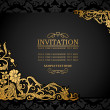 Vector de stock : Abstract background with antique, luxury black and gold vintage frame, victorian banner, damask floral wallpaper ornaments, invitation card, baroque style booklet, fashion pattern, template for design