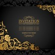 图库矢量图片: Abstract background with antique, luxury black and gold vintage frame, victoribanner, damask floral wallpaper ornaments, invitation card, baroque style booklet, fashion pattern, template for design