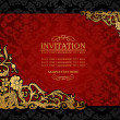 Stock Vector: Abstract background with antique, luxury red and gold vintage frame, victorian banner, damask floral wallpaper ornament, invitation card, baroque style booklet, fashion pattern, template for design