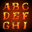 Abstract art font, hand-drawn Fire alphabet (a, b, c, d, e, f, g, h, i ) — Stock Vector