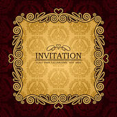 Abstract background with antique, vintage frame and banner, red damask wallpaper with ornamental, gold invitation card, baroque style label, fashion pattern, graphic ornaments for decoration, design — Stock Vector