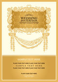 Wedding invitation card, abstract background, vintage frame and banner, gold damask wallpaper, baroque style label, fashion pattern, graphic ornament for decoration and design. — Stock Vector