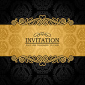 Abstract background with antique, vintage frame and banner, black damask wallpaper with ornamental, gold invitation card, baroque style label, fashion pattern, graphic ornament for decoration, design — Stockvektor