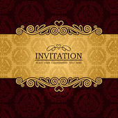 Abstract background with antique, vintage frame and banner, red damask wallpaper with ornamental, gold invitation card, baroque style label, fashion pattern, graphic ornaments for decoration, design. — Stock Vector