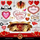 Día de san valentín feliz, amor conjunto de vectores; abstracto, vintage, navidad, corazones retro y adornos para el diseño; antigüedades, arte bandera, marco, tarjeta, etiqueta, saludos y la invitación para el matrimonio y la boda — Vector de stock