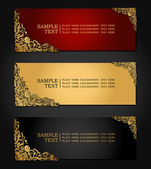 Vintage, antique banners on black background, luxury red, black and gold vintage frames, floral corner ornaments, baroque style fashion pattern, web and page template for design — Stock Vector