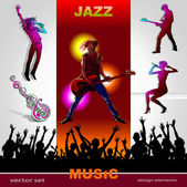Background of music, set of musicians, singers, party and band silhouettes, ornament of art guitar; Jazz, Rock, Reggae, blues, country, Rock, Pop, Rap, Hip-Hop styles for design — Vecteur