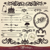EPS 10,Vector calligraphy set: vintage style, ornate design ornaments and page decoration, creative patterns — Stockvektor