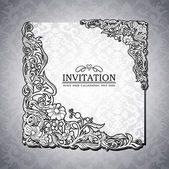Abstract background with antique, luxury black and white vintage rich frame, banner, damask floral ornaments, invitation card, baroque style booklet, fashion pattern, paper page template for design — Stok Vektör