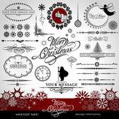 Navidad y año nuevo vector decorativo establece, siluetas de santa claus y hadas, elementos caligráficos, vintage y retro adornos, banners, texto, divisores con copos de nieve y las estrellas para el diseño — Vector de stock