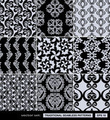 Abstract backgrounds set, damask ornaments, monochrome seamless patterns, vector wallpapers, floral fashion fabrics and arabesque wrappings with graphic elements, flowers and leafs for design — Stock Vector
