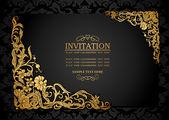 抽象的なアンティーク、豪華な黒とゴールドのビンテージ フレーム、ビクトリア朝のバナーの背景、ダマスク花の壁紙の装飾、招待カード、バロック様式の小冊子、ファッション パターンのデザイン テンプレート — ストックベクタ