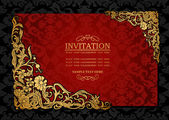 Abstract background with antique, luxury red and gold vintage frame, victorian banner, damask floral wallpaper ornament, invitation card, baroque style booklet, fashion pattern, template for design — Wektor stockowy
