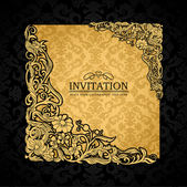 Abstract background with antique, luxury gold vintage frame, victorian banner, damask floral wallpaper ornament, invitation card, baroque style booklet, fashion pattern, paper page template for design — Stok Vektör
