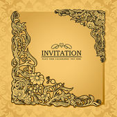 Abstract background with antique, luxury gold vintage frame, victorian banner, damask floral wallpaper ornament, invitation card, baroque style booklet, fashion pattern, paper page template for design — Stock vektor