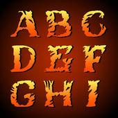 Abstract art font, hand-drawn Fire alphabet (a, b, c, d, e, f, g, h, i ) — Stock Vector