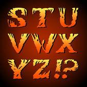 Abstract art font, hand-drawn alphabet (s, t, u, v, w, x, y, z) — Stock Vector