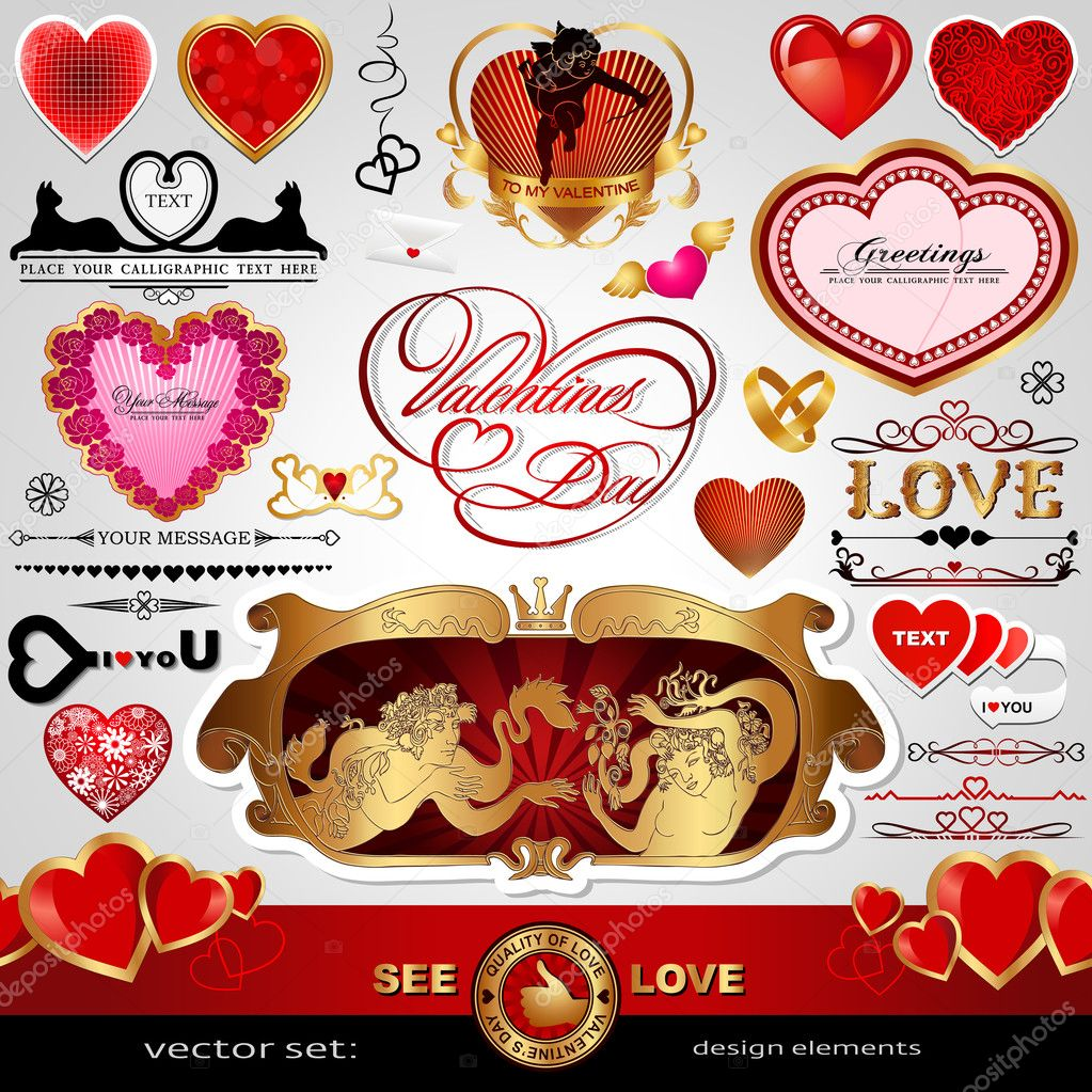 Happy valentines day love vector set abstract vintage