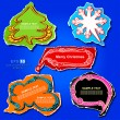 Christmas and New Year graphic speech bubbles and stickers design, using creative ornaments -Christmas tree, snowflake, cloud, banner and frame on the colored vintage paper - Stock Photo