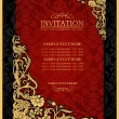 Abstract background with antique, luxury red and gold vintage frame, victorian banner, damask floral wallpaper ornament, invitation card, baroque style booklet, fashion pattern, template for design - Stock Photo