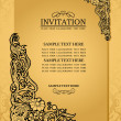 Abstract background with antique, luxury gold vintage frame, victorian banner, damask floral wallpaper ornament, invitation card, baroque style booklet, fashion pattern, paper page template for design - Stock Photo