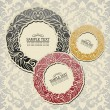 Abstract background with vintage frames, old style banners, floral damask wallpaper, garland ornaments, invitation card, postcard and booklet, fashion pattern, template for design - Stock Photo