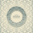 Abstract background with blue vintage frame, old style banner, floral damask wallpaper, garland ornament, invitation card, postcard and booklet, fashion pattern, template for design - Stock Photo