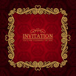 Abstract background with antique, vintage frame, red damask wallpaper with ornamental, gold invitation card and baroque style label, fashion seamless pattern, graphic, geometric ornaments for design — Stock Photo #12398693