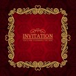 Abstract background with antique, vintage frame, red damask wallpaper with ornamental, gold invitation card and baroque style label, fashion seamless pattern, graphic, geometric ornaments for design — Stockfoto