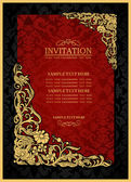 Abstract background with antique, luxury red and gold vintage frame, victorian banner, damask floral wallpaper ornament, invitation card, baroque style booklet, fashion pattern, template for design — Stock Photo