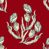 Abstract flower backgrounds, tulip ornament, fashion seamless pattern, vector wallpaper, floral red fabric and retro wrapping with graphic element for decoration and design — Stock Photo