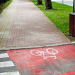 Red bicycle lane with white mark. — Stock Photo