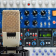 Studio microphone and audio devices — Stock Photo