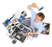 Computer being destroyed by annoyed madman — Stock Photo