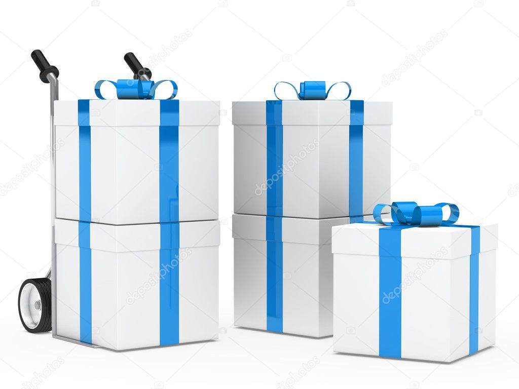 Christmas gift box blue ribbon hand truck — Stock Photo #10751981
