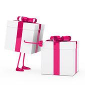 Figure push gift box — Stock Photo