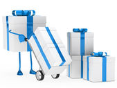 Gift box hold hand truck — Stock Photo