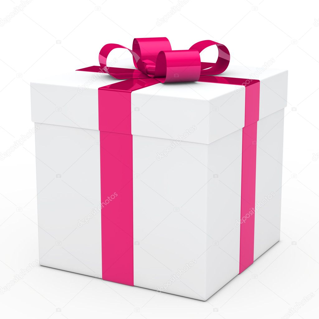 Christmas white gift box with pink ribbon  Stock Photo #10866374