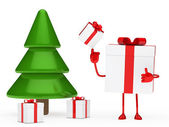 Gifts box christmas tree — Stock Photo