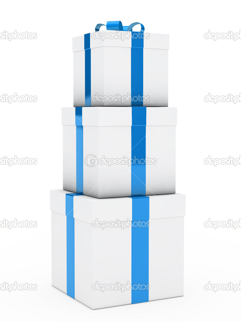 Christmas three gift boxes blues white stack — Stock Photo #10969998